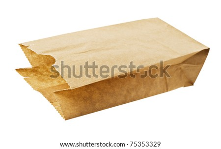 Eco friendly brown paper bag on white - stock photo