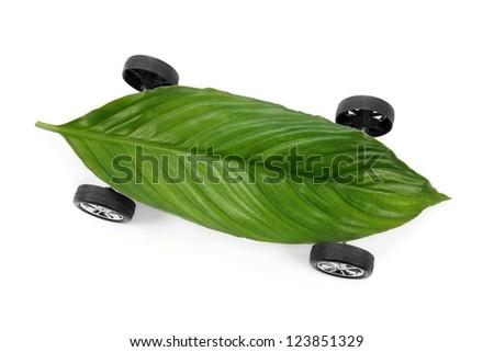 Eco friendly car isolated on white background - stock photo