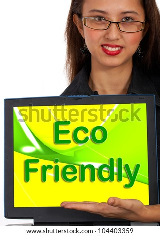 Eco Friendly Computer Message As Symbol For Recycling Or Nature - stock photo