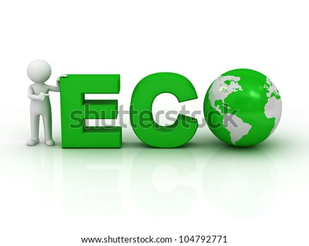 Eco friendly concept, 3d man pointing finger at green word eco on white background with reflection