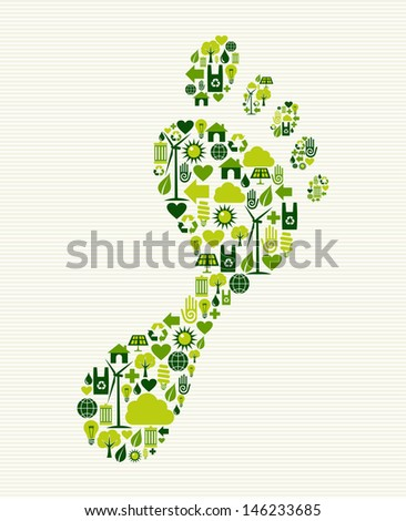 Eco friendly foot prints green concept splash. - stock photo
