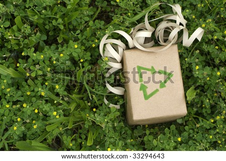 Eco friendly gift wrapped in recycled paper surround by green plants - stock photo