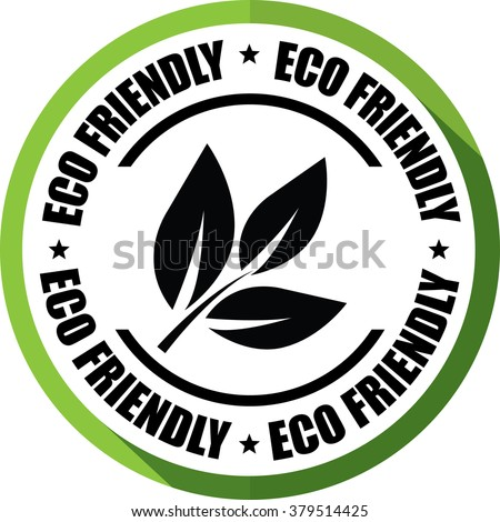 Eco friendly green, Button, label and sign. - stock photo