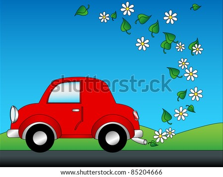 Eco friendly green car concept cartoon with cute red car emitting daisies and leaves instead of green houses gases with copy space in the blue sky. - stock photo