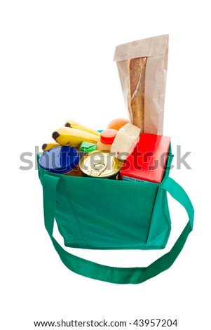 Eco friendly green cloth grocery bag full of food - stock photo