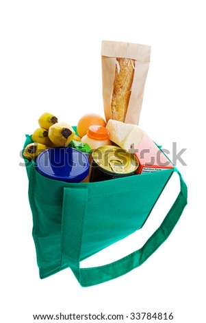 Eco friendly grocery bag full of food - stock photo