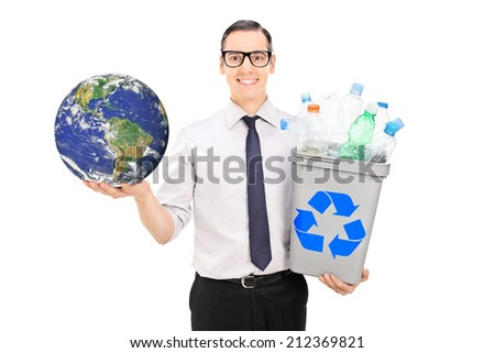 Eco friendly guy holding recycle bin and a globe isolated on white background. (Earth image in Public Domain and furnished by NASA)