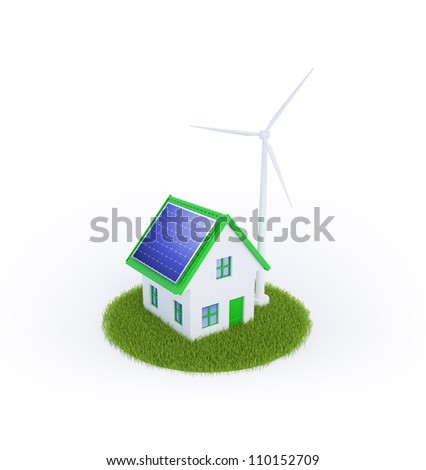 Eco friendly housing with renewable energy sources - stock photo