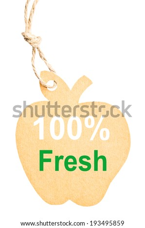 Eco friendly label. 100% Fresh, isolated on white background, clipping path. - stock photo