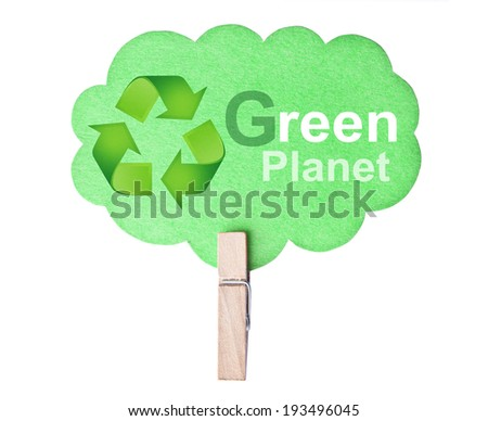 Eco friendly label. Green planet, isolated on white background, clipping path. - stock photo