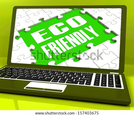 Eco Friendly Laptop Showing Green And Environmentally Efficient