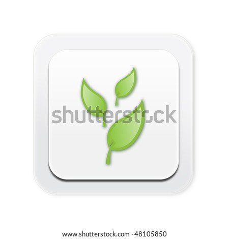 Eco friendly light switch with leaves - stock photo