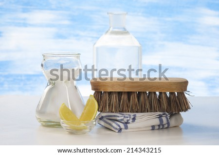 Eco-friendly natural cleaners Vinegar, baking soda, salt, lemon and cloth - stock photo