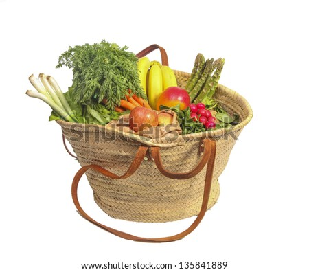 Eco friendly shopping bag with organic fruit and vegetables - stock photo
