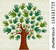 Eco friendly tree hands illustration for greeting card over wooden pattern. - stock photo