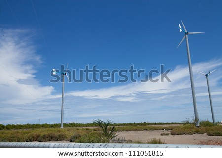 Eco friendly wind turbine - stock photo