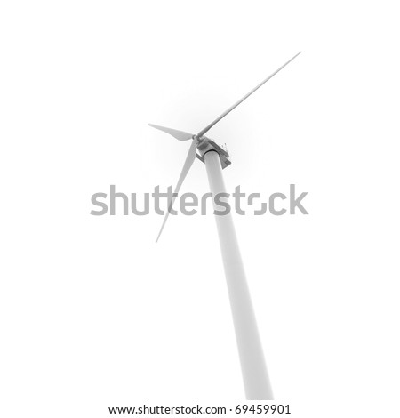 Eco friendly wind turbine looking up from below isolated on white background for Earth Day environmental concept. - stock photo