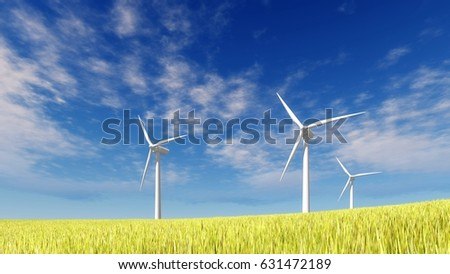 Eco friendly wind turbines on green grass field against blue cloudy sky background at sunny summer day. 3D illustration from my own 3D rendering file.