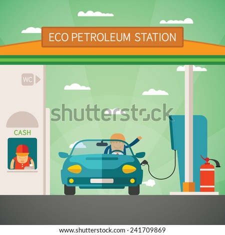 Eco fuel petrol station bitmap concept in flat style - stock photo