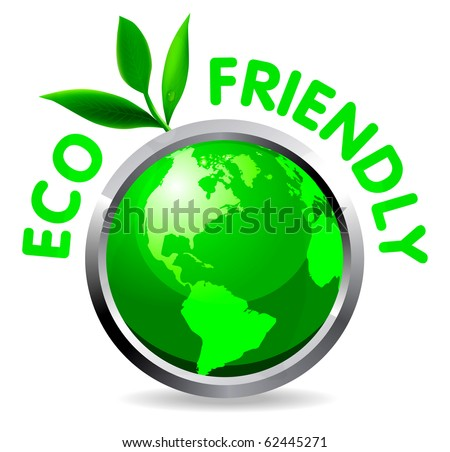 Eco glossy icon on white background