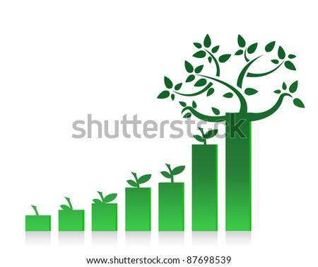 eco graph chart illustration design on white - stock photo