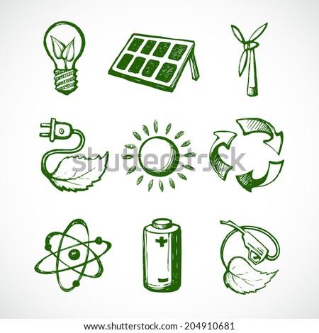 Eco green energy sketch icons set of leaf lightbulb sun panel and atom isolated  illustration - stock photo