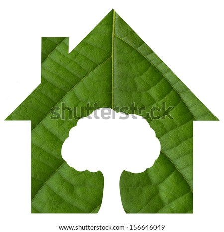 Eco green house with tree icon from green leaf background.