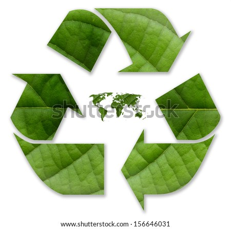 Eco green recycle icon  with world globe, from green leaf background.  - stock photo