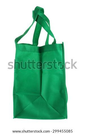 Eco Green Shopping Bag on White Background - stock photo
