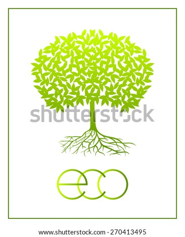 Eco green tree silhouette with border. Raster version. - stock photo