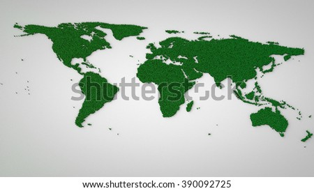 Eco / Green World Map concept. 3d world map made of grass - stock photo