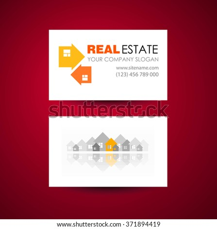 Eco home and real estate logo template. Business card design idea.