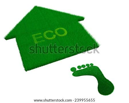 eco home grass  - stock photo