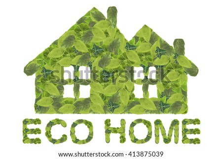 Eco home. Green house icon isolated on a white background. - stock photo