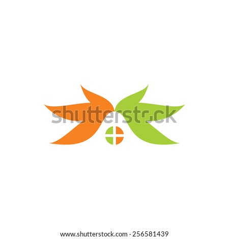 Eco home sign Branding Identity Corporate logo design template Isolated on a white background - stock photo