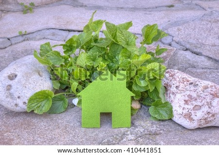 Eco house concept in a green plants and stones, green eco house icon in nature - stock photo
