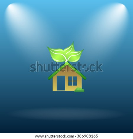 Eco house icon. Internet button on blue background.   - stock photo