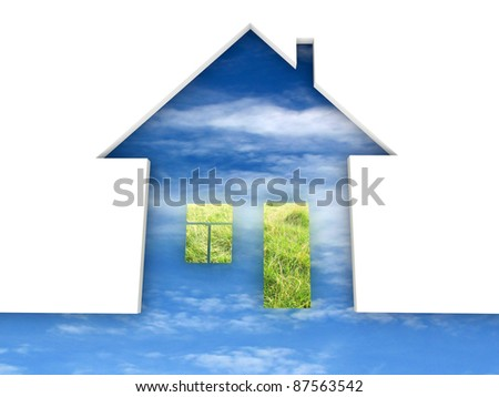 Eco house metaphor. House with grass and sky. - stock photo