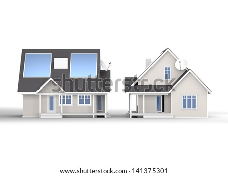 eco house with panels on white. View from front and side. Render - stock photo