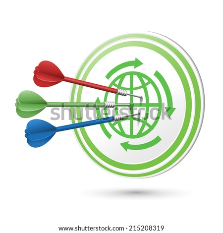 ECO icon target with darts hitting on it over white - stock photo