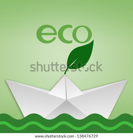 eco illustration with paper boat in the green sea - stock photo