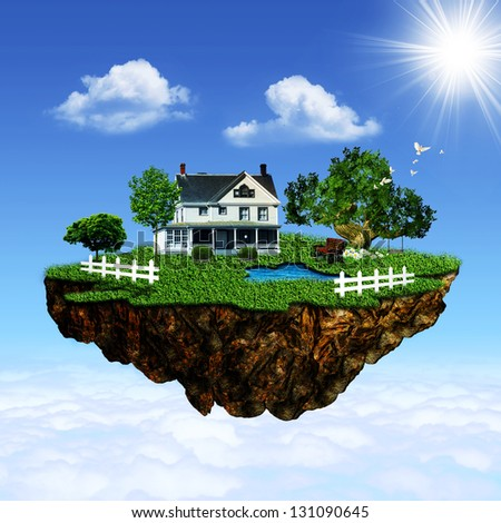 Eco island. Abstract environmental backgrounds for your design - stock photo