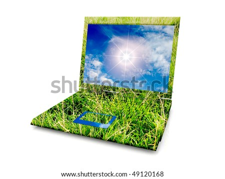eco Laptop with grass, sky and sun - stock photo