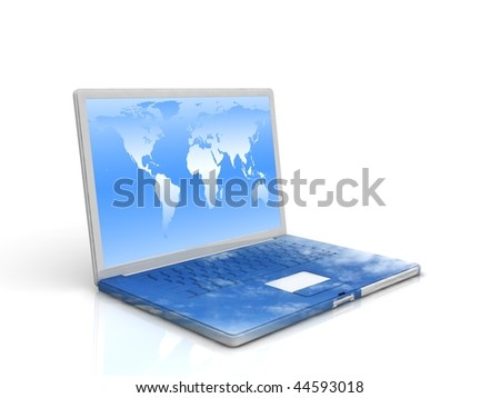 eco Laptop with sky