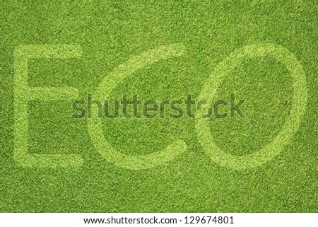 Eco letter on green grass texture and background
