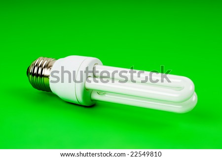 eco light bulb on green background