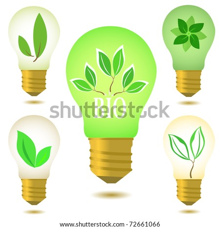 Eco light bulbs set isolated on white