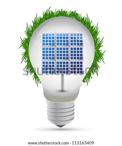 eco lightbulb and solar panel illustration design - stock photo