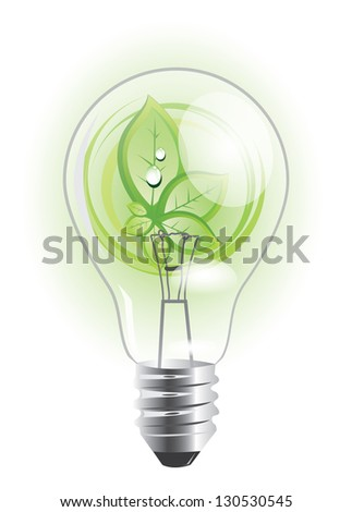 Eco lightbulb with growing plant inside of it