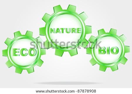 Eco logo - green cogwheel - stock photo